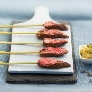 Seared Beef Skewers, Sweet Thai Dip